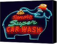 Car Wash Canvas Prints - Rancho Car Wash Canvas Print by Matthew Bamberg