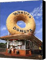 Open Mixed Media Canvas Prints - Randys Donuts Canvas Print by Russell Pierce