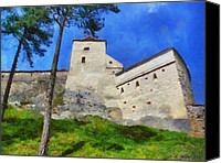 Ruin Digital Art Canvas Prints - Rasnov Fortress Canvas Print by Jeff Kolker