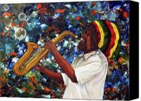 Saxaphone Painting Canvas Prints - Rasta Sax Player Canvas Print by Anna-maria Dickinson
