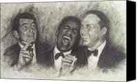 Frank Sinatra Drawings Canvas Prints - Rat Pack Canvas Print by Cynthia Campbell