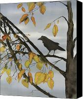Dyes Tapestries - Textiles Canvas Prints - Raven In Birch Canvas Print by Carolyn Doe