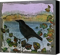 Dyes Tapestries - Textiles Canvas Prints - Raven in Colored Leaves Canvas Print by Carolyn Doe