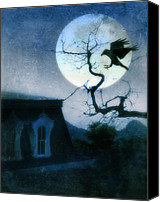 Creepy Canvas Prints - Raven Landing on Branch in Moonlight Canvas Print by Jill Battaglia