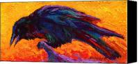 Crows Canvas Prints - Raven Canvas Print by Marion Rose