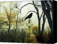 Appearance Canvas Prints - Raven On Cross Canvas Print by Gothicolors With Crows