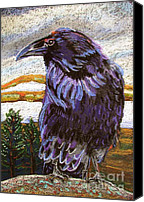 Mountains Pastels Canvas Prints - Raven Spirit Canvas Print by Harriet Peck Taylor