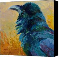 Ravens Canvas Prints - Raven Study Canvas Print by Marion Rose