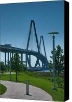 River Transportation Canvas Prints - Ravenel Bridge and Memorial Waterfront Park Canvas Print by Steven Ainsworth