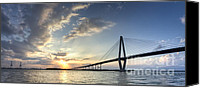 Ravenel Bridge Canvas Prints - Ravenel Bridge Cooper River Sunset Canvas Print by Dustin K Ryan