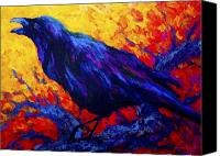 Crows Canvas Prints - Ravens Echo Canvas Print by Marion Rose