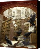 Ravens Canvas Prints - Ravens in the Library Canvas Print by Rob Carlos