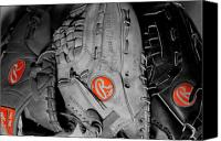 Baseball Mitt Canvas Prints - Rawlings In Red Canvas Print by Jame Hayes