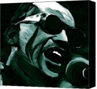 Drawings Canvas Prints - Ray Charles Canvas Print by Jeff DOttavio