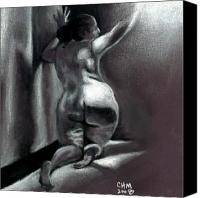 Female Nude Canvas Prints - Reach Canvas Print by Cartoon Hempman