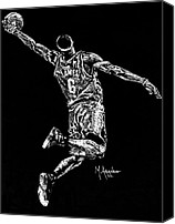 Nba Canvas Prints - Reaching for Greatness Canvas Print by Maria Arango