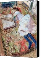 Reading Pastels Canvas Prints - Reader Lying Down Canvas Print by Edgar Degas