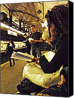 Subway Station Photo Canvas Prints - Readers on the A Train Platform Canvas Print by Sarah Loft