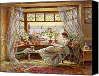 Flower Pots Canvas Prints - Reading by the Window Canvas Print by Charles James Lewis
