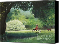 Reading Pastels Canvas Prints - Reading Time at Gallup Park - Ann Arbor Michigan Canvas Print by Yoshiko Mishina