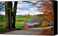 Vermont Autumn Foliage Canvas Prints - Reading Vermont - Jenne Road Canvas Print by Thomas Schoeller