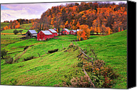 Barbed Wire Fence Canvas Prints - Reading Vermont Scenic Canvas Print by Thomas Schoeller