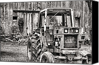 Red Tractors Canvas Prints - Ready to Go BW Canvas Print by JC Findley