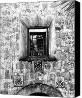 Spanish Style Canvas Prints - Rear Window BW Canvas Print by William Dey
