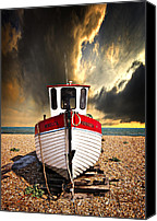 Wooden Boat Canvas Prints - Rebecca Canvas Print by Meirion Matthias