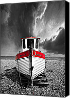 Red And White Canvas Prints - Rebecca Wearing Just Red Canvas Print by Meirion Matthias