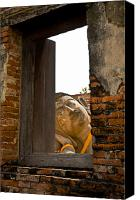Ruins Canvas Prints - Reclining Buddha view through a window Canvas Print by Ulrich Schade