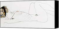 Ladies Drawings Canvas Prints - Reclining female nude Canvas Print by Egon Schiele