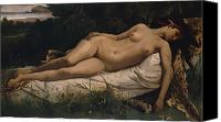 Asleep Painting Canvas Prints - Recumbent Nymph Canvas Print by Anselm Feuerbach
