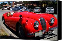 British Car Canvas Prints - Red 1952 Jaguar XK120 . 7d15950 Canvas Print by Wingsdomain Art and Photography