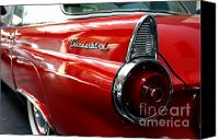 American Car Canvas Prints - Red 1955 Ford 40A Thunderbird . Wing View Canvas Print by Wingsdomain Art and Photography