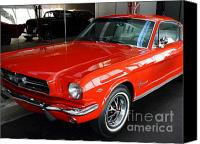 Old Cars Canvas Prints - Red 1965 Ford Mustang . Front Angle Canvas Print by Wingsdomain Art and Photography