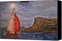 Paul Morgan Canvas Prints - Red Alert at Fairhead by Moonlight Canvas Print by Paul Morgan