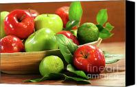 Limes Canvas Prints - Red and green apples in a bowl Canvas Print by Sandra Cunningham