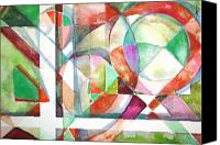 Abstraction Drawings Canvas Prints - Red and Green Canvas Print by Mindy Newman