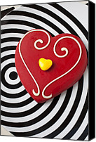 Spot Canvas Prints - Red and Yellow Heart Canvas Print by Garry Gay