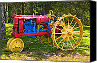 Tractor Wheel Canvas Prints - Red and yellow tractor Canvas Print by Garry Gay