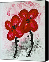 Chinese Canvas Prints - Red Asian Poppies Canvas Print by Sharon Cummings