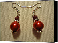 Glitter Earrings Jewelry Canvas Prints - Red Ball Drop Earrings Canvas Print by Jenna Green
