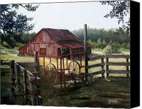 Rural Texas Canvas Prints - Red Barn at Sunrise Canvas Print by Cynara Shelton