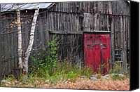 Fall Scenes Canvas Prints - Red Barn Door - Dublin New Hampshire Canvas Print by Thomas Schoeller