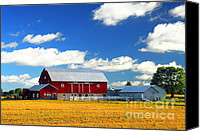 Hay Canvas Prints - Red barn Canvas Print by Elena Elisseeva