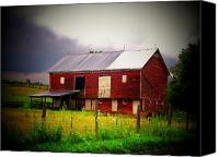 Farm Scenes Canvas Prints - Red Barn on a Cloudy Day Canvas Print by Joyce L Kimble