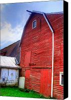 Photo-realism Photo Canvas Prints - Red Barn Canvas Print by Robert Pearson