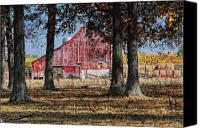 Rural Scenes Photo Canvas Prints - Red Barn through The Trees Canvas Print by Pamela Baker