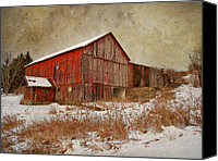 Country Photographs Canvas Prints - Red Barn White Snow Canvas Print by Larry Marshall